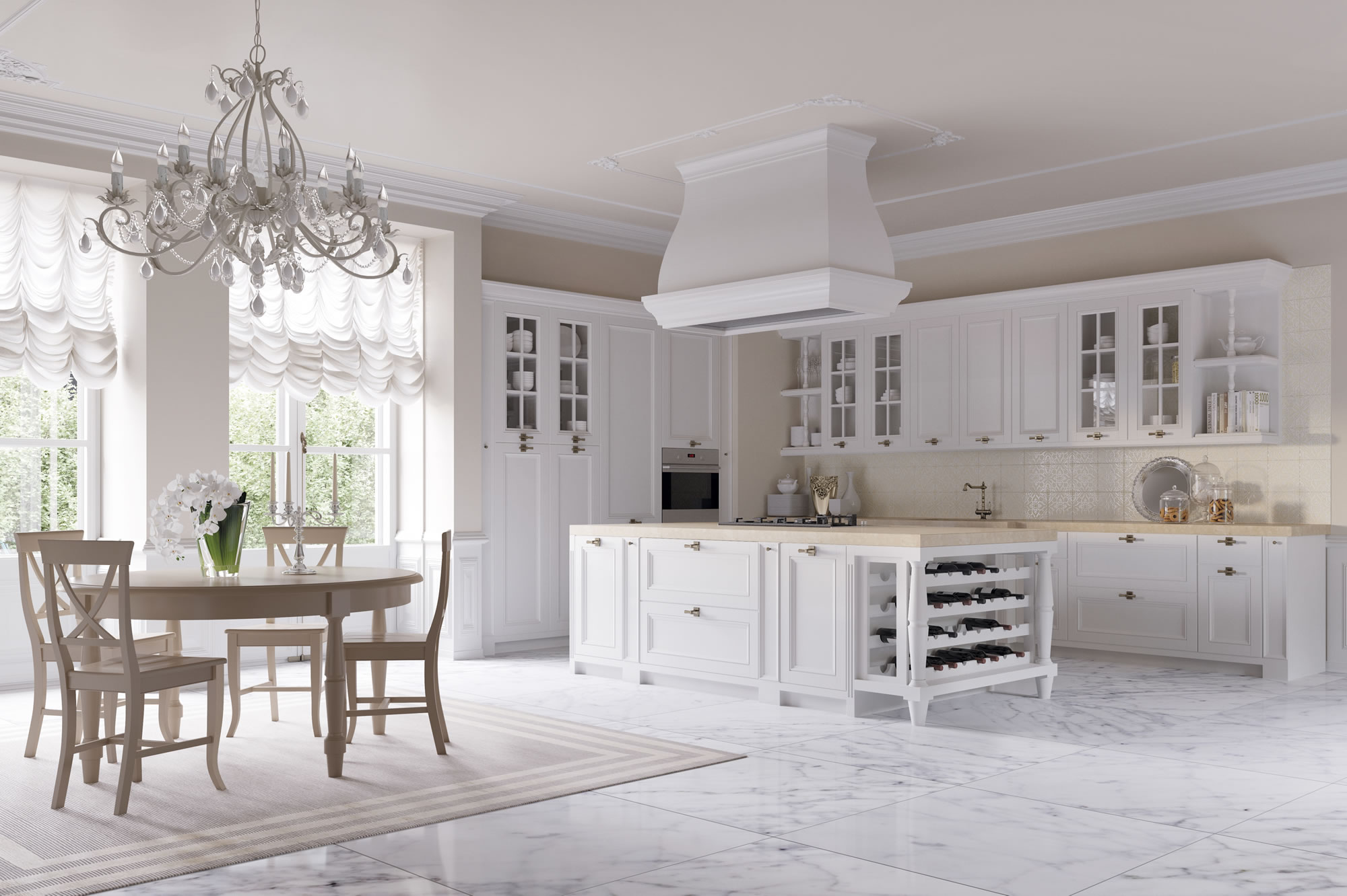 Cucine eleganti barocche cucine bianche country chic for Casa country chic