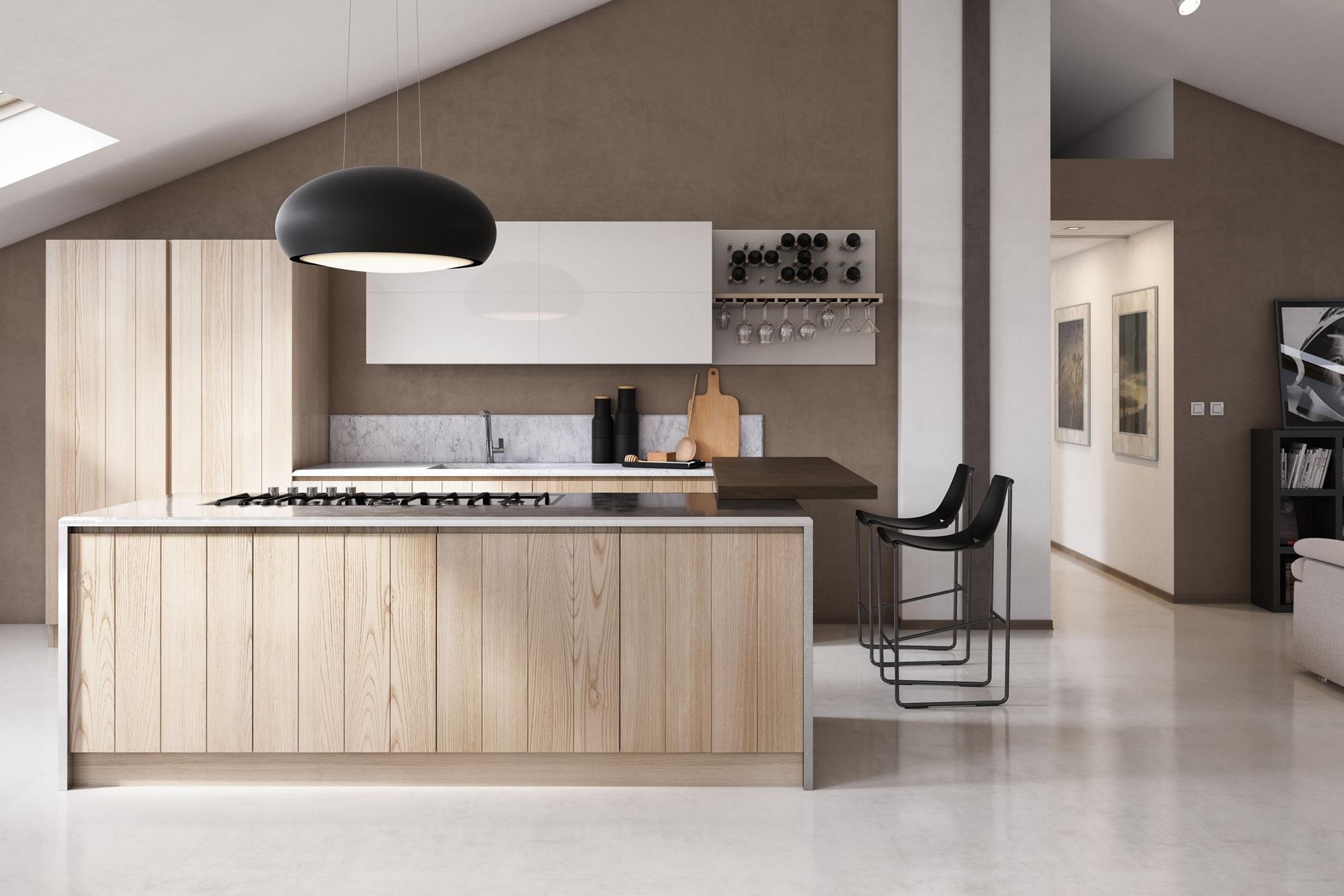 Cucina in legno contemporanea moderna componibile