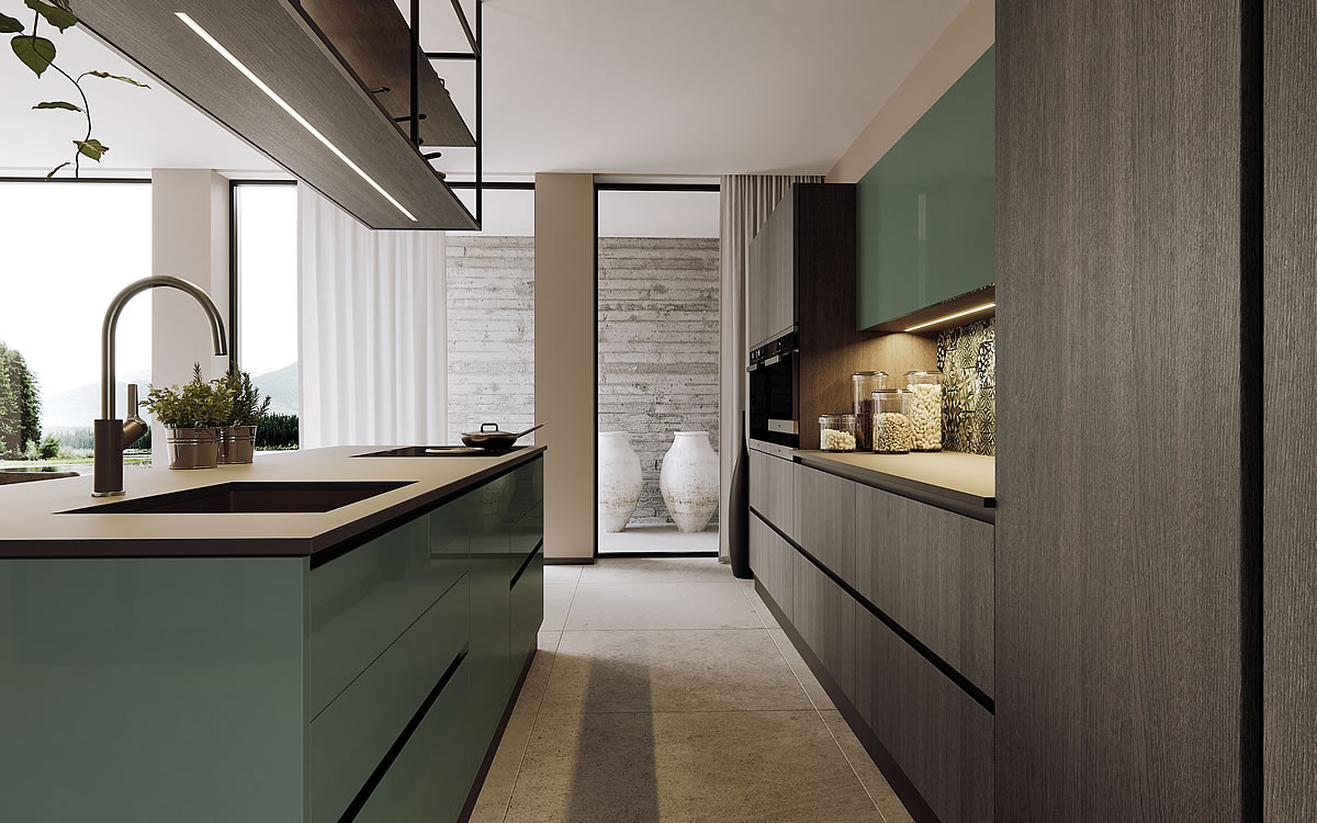 Isola Con Lavello E Fuochi italian essential design kitchens | aurora cucine
