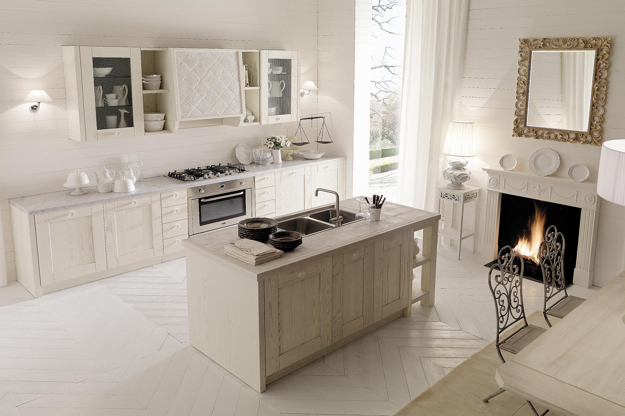 Cucine bianche country chic in muratura cucine in legno - Cucina bianca e legno ...