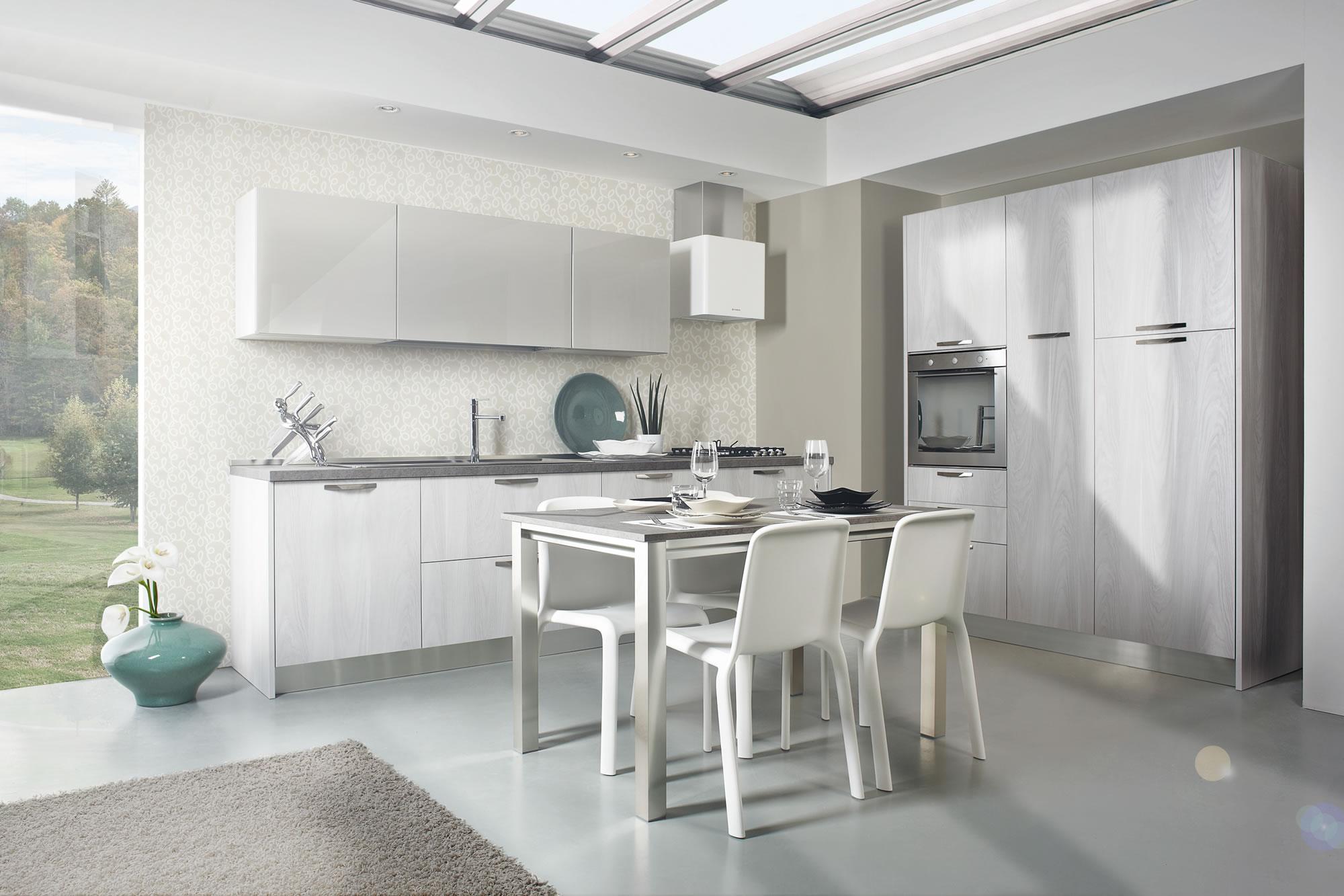 Cucine bianche design contemporaneo componibili laminato for Immagini cucine