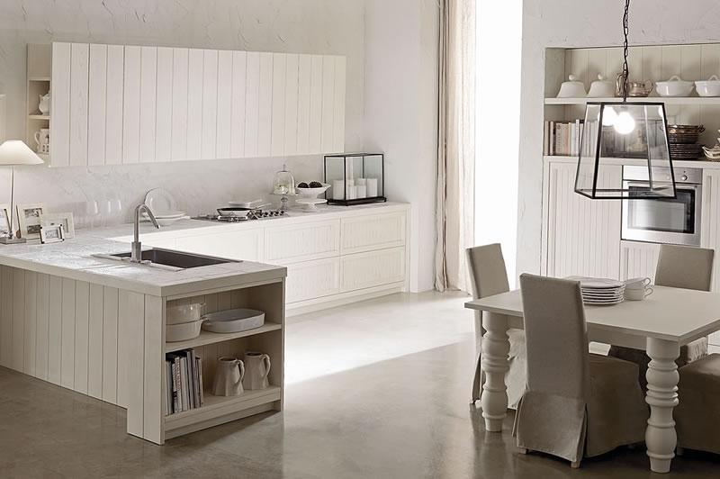 Cucine country chic stile moderno componibili in legno - Cucina muratura bianca ...